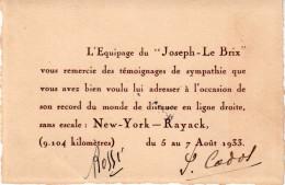 """CARTE DE VISITE : DE L' ÉQUIPAGE DU """" JOSEPH LE BRIX """" . SIGNÉE DES PILOTES """" CODOS ET ROSSI """" . - Autographes"""