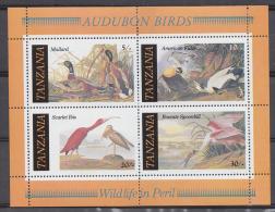 TANZANIA  Birds  Cranes  Ducks  Spoonbill  4v  Sheet MNH  #  64518 - Kraanvogels En Kraanvogelachtigen