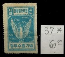 37 * Coree Nord   Cote 60 Euros   Colombe   Paloma  Dove - Corea Del Norte