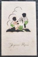 RARE Chromo Relief Illustrateur HACO 6051 SILHOUETTE Ombre Enfant Panier Oeuf Colorisé Dorure Joyeuses Paques - Silhouettes