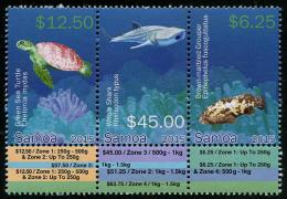 sam150301 Samoa 2015 Fish Shark Turtle Strip of 3 Diff. with Labels High Face Value