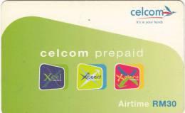 MALAYSIA - Celcom Prepaid Card RM30, Exp.date 30/04/06, Used