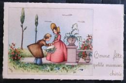 Litho Illustrateur BARNINI 4925 Duo Fille Fillette Elegante Marquise Garcon Baise Main Bouquet Fete Maman - Fête Des Mères
