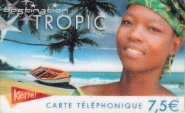 FRENCH ANTILLES - Tropic Beach/Boy, Kertel Telecom Prepaid Card 7.50 Euro, Used - Antilles (French)