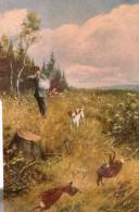 Belle Cpa Fantaise Illustree Sur Le Theme De La Chasse , Chasseurs , Lievres Et  Chien Epagneul - Animaux & Faune