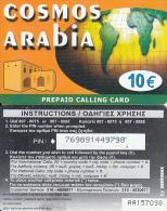 GREECE - Cosmos Arabia, Amimex Prepaid Card 10 Euro(dark Orange), CN : AA + 6 Digits, Used - Greece