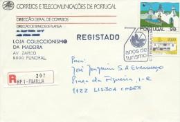 TIMBRES - STAMPS - LETTRE RECOMMANDÉ - MARCOPHILIE - PORTUGAL - 75 ANS DE TOURISME - CACHET 1er. JOUR - 1910-... République