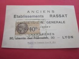 Chambéry Ancienne étiquette Publicitaire Publicité RASSAT Alimentation Générale Transféré à LYON +fiscal  1923 - Etiquettes