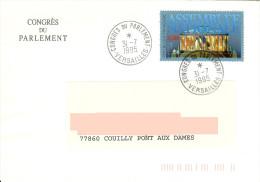 Timbre Assemblée Nationale Sur Enveloppe Congrès Du Parlement à Versailles Avec Cachet Spécial Du Congrès - Monumentos