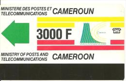 CARTE PISTE MAGNETIQUE-CAMEROUN-3000F-V°3 Traits En Bas ROUGE -TBE - Cameroun