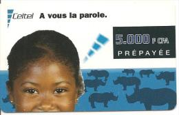 CARTE-PREPAYEE-GSM-GABON-5000F CFA-ENFANT Et RHINOCEROS-02/2002-TBE - Gabon