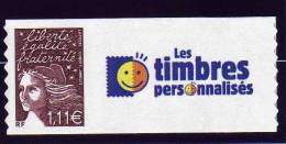 TIMBRE PERSONNALISE ADHESIF N° 3729C** AVEC VIGNETTE TIMBRES PERSONALISES NEUF LUXE - France