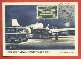 """N° 1196 - """" Journée Du Timbre 1959 """" /  Carte Maximum LONS LE SAUNIER - JURA - France"""