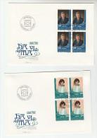 1982 Pair Of  LIECHTENSTEIN FDC Blocks Of 4 Stamps  LIBA 82 Cover - FDC