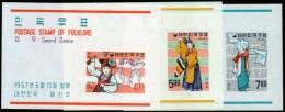 1967 South Korea Folklore (2nd) Stamps Souvenir Sheet(s/s)  Fencing Sword Dance Buddist Costume Buddha - Fencing