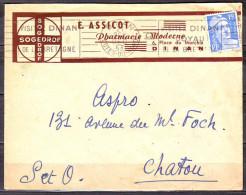 RBV De DINAN     Le 21 DEC 53   VISITEZ DINAN JOYAU DE LA BRETAGNE     Envel PUB  PHARMACIE  MODERNE - Marcophilie (Lettres)