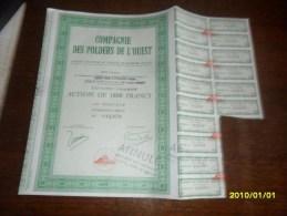1977 - ACTION  1800  Frs ( **COMPAGNIE DES POLDERS DE L'OUEST  **++ COUPONS ) - Industrie