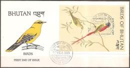 Bhoutan -- Enveloppe 1er Jour Datée Du 22/11/89,bloc ?  (bonétat) - Vogels