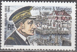 Saint-Pierre Et Miquelon 1992 Yvert 558 Neuf ** Cote (2015) 1.60 Euro Amiral Muselier - Neufs