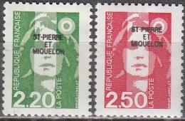 Saint-Pierre Et Miquelon 1991 Yvert 552 - 553 Neuf ** Cote (2015) 2.35 Euro Marianne De Briat - Neufs