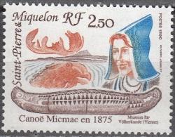 Saint-Pierre Et Miquelon 1990 Yvert 527 Neuf ** Cote (2015) 1.25 Euro Canoë Micmac - Neufs