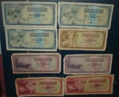 LOT De 8 Billets.2 De 100,3 De 50,3 De 20 Dinara.Tous Etat - Yougoslavie