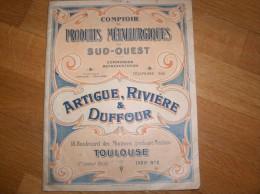 TOULOUSE CATALOGUE COMPTOIR DE METALLURGIQUES DU SUD OUEST ARTIGUE RIVIERE ET DUFOUR 18 BD DES MINIMES - France
