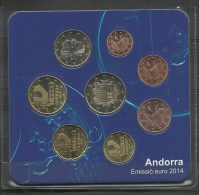 ANDORRA- SERIE 8 MONEDAS DE LOS PRIMEROS EUROS ANDORRA 2014 EMISION 70,000 ESTUCHES - Andorra