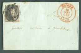 N° 3 - Médaillon 10 Centimes Brun, Obl. P.85 Sur Lettre De NAMUR Le 16 Septembre 1850 Vers Gembloux. - 10540 - 1849-1850 Médaillons (3/5)