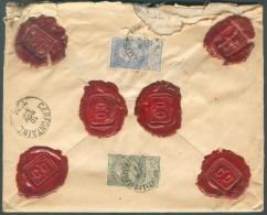 N°60-63 Obl. Sc BRUXELLES (LEGISLATIF) Au Verso D'une Lettre ASSURE (valeur 1096,67 Frs) Du 9 Novembre (mois Inversé) 19 - 1893-1900 Fine Barbe