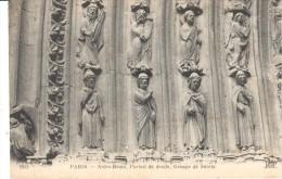POSTAL   PARIS  -FRANCIA - NOTRE DÀME - PUERTA DERECHA -GRUPO DE SANTOS - Notre Dame De Paris
