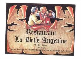 Etiquette De Vin Du Restaurant  -   La Belle Angevine - Etiquettes