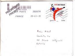GOOD FRANCE Postal Cover To ESTONIA 2015 - Good Stamped: Kick Boxing - Frankrijk