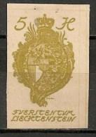 Timbres - Liechtenstein - 1920 - 5 H. - Non Dentelé -