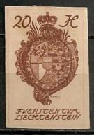 Timbres - Liechtenstein - 1920 - 20 H. - Non Dentelé -
