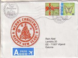GOOD BELGIUM Postal Cover To ESTONIA 2014 - Good Stamped: Christmas ; Butterfly - Belgium