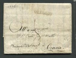 1838 RARA PREFILATELICA DA OLEGGIO  NOVARA  X  FRAZIONE DI CRANA COMUNE SANTA MARIA MAGGIORE  DOMODOSSOLA CON TESTO - Italia