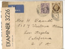 UK - 1942 CENSORED COVER From FRODSHAM To CALIFORNIA - Yvert # 214 - 222 - SG # 467 - 475 - 1902-1951 (Rois)