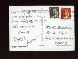 - ESPAGNE 1981/90 . AFFRANCHISSEMENT COMPOSE  SUR CP DE 1984 POUR LA FRANCE . - 1931-Hoy: 2ª República - ... Juan Carlos I