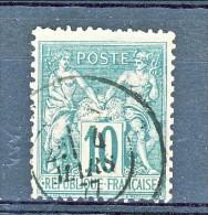 Francia 1876 Sage Tipo II Y&T N. 76 C. 10 Verde Usato - 1876-1898 Sage (Tipo II)