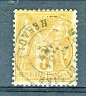 Francia 1876 Sage Tipo II Y&T N. 86 C. 3 Bistro Giallastro Usato - 1876-1898 Sage (Type II)