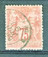 Francia Sage 1876  Tipo II Y&T N. 81 C. 75 Rosa Usato - 1876-1898 Sage (Type II)