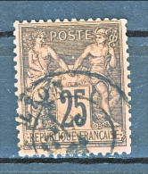 Francia Sage 1878  Tipo II Y&T N. 91 C. 25 Nero Su Rosso Usato - 1876-1898 Sage (Type II)