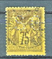 Francia Sage 1890  Tipo II Y&T N. 99 C. 75 Violetto Su Arancio Usato Perfin - 1876-1898 Sage (Type II)
