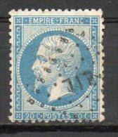 FRANCE - 1862 - Second Empire - Napoléon III - N° 22 - 20 C. Bleu - (Oblitération : Bureau De Quartier (LIL)) - 1862 Napoleone III