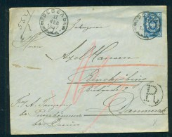 Russia.  11.Feb. 1887, Recomended Cover Sent From Reval To Denmark - 1857-1916 Empire