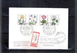 Lettre D´Allemagne-Berlin Vers La Grèce En Recommandé - Fleurs - Série Complète (à Voir) - Pflanzen Und Botanik