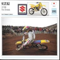 1991 - FICHE TECHNIQUE MOTO - DÉTAIL COMPLET À L´ENDOS - SUZUKI 125 RM YVES DEMARIA - TOUT TERRAIN - JAPON - Motor Bikes