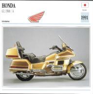 1991 - FICHE TECHNIQUE MOTO - DÉTAIL COMPLET À L´ENDOS - HONDA GL 1500 / 6 - TOURING - JAPAN - Motor Bikes