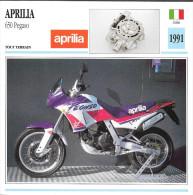 1991 - FICHE TECHNIQUE MOTO - DÉTAIL COMPLET À L´ENDOS - APRILIA 650 PEGASO - TOUT TERRAIN - ITALIE - Motor Bikes